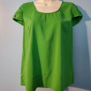 Zara Basic green capped sleeve blouse
